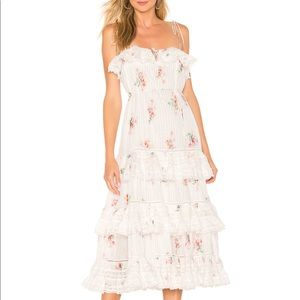 Zimmermann heathers floral midi pintuck dress